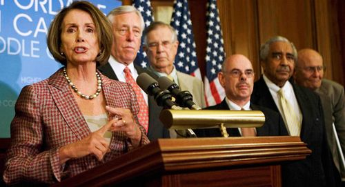 From left: Nancy Pelosi, Steny Hoyer, Pete Stark, Henry Waxman, Charles Rangel and John Dingell are pictured